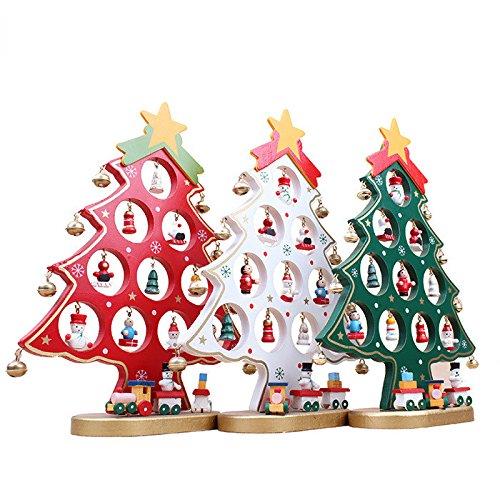 OULII Arbre de Noël en bois bricolage dessin animé Noël ornement cadeau Table bureau décoration décoration de Noël (rouge)