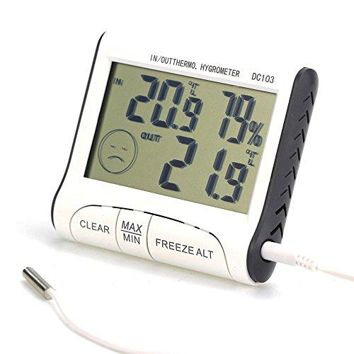 Innenwetterstation Außen Temperatur-Feuchtigkeits-Messinstrument-Thermometer LCD-Anzeige Haushalt Hygrometer
