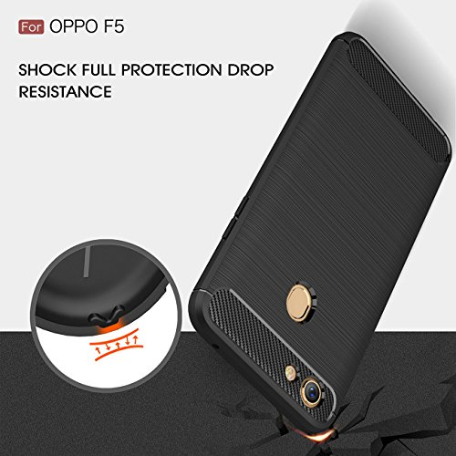 OPPO F5 Case, Xigua Ultra Light Slim Shockproof Silicone TPU [Anti Slip] [Scratch Resistant]Protective Case Cover for OPPO F5 Protective Shell (Black)