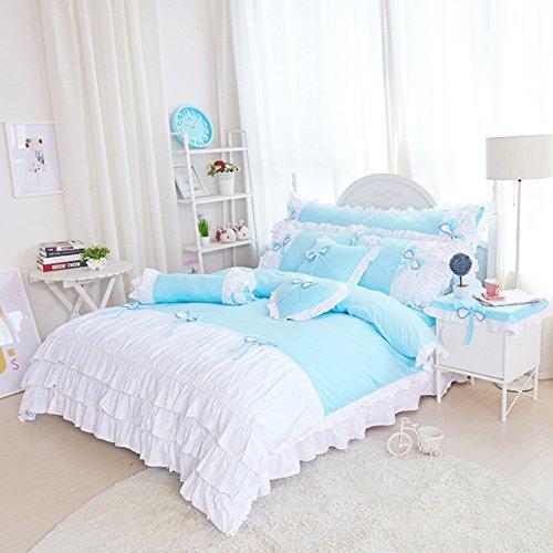 hxxkact Bettwäsche Set,Bettvolant Bettbezug Bettüberwurf Tagesdecke Europäischer Stil Dekoration Princess Baumwolle-Himmelblau 180x200cm(71x79inch)