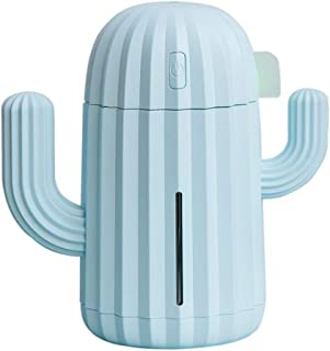 Cactus Humidifier Protable USB Air Purifier 2 Mist Modes with Night Light for Home Office Bedroom Living Room Study Yoga,Blue