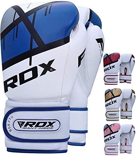 RDX Gants de Boxe pour D'entraînement et Muay Thaï | Ego Gants en Maya Hide Cuir pour Sparring, Kickboxing, Sacs de Frappe, Compétition Combat Mitaines, Boxing Gloves