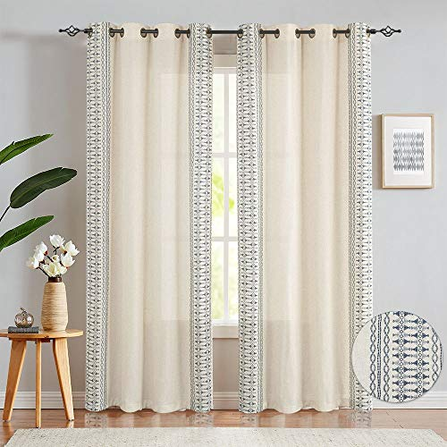"""Embroidered Window Curtains for Bedroom- Quatrefoil Flax Linen Blend Textured Geometry Lattice Grommet Window Treatment Set for Living Room 50"""" W x 95"""" L 2 Panels Blue"""