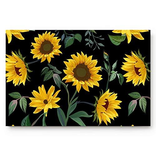 Seamless Pattern Sunflowers Doormats Entrance Front Door Rugs Black Background Decorative Indoor/Bathroom/Kitchen/Bedroom/Entryway Floor Bath Mats, Non-Slip Rubber Backing
