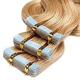 TESS Tape Extensions Echthaar Klebeband Haarverlängerung 16 Inch 20pcs Gewellt Remy Tape in Hair Extensions Mittelblond (#24 40cm-50g)