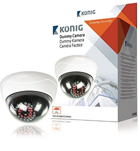 König SAS-DUMMYCAM95 Telecamera Finta CCTV a Cupola con 25 LED IR, Blanc