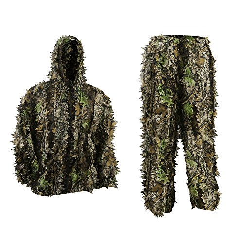 PELLOR Youth Ghillie Suits, 3D Leafy Ghille Suit for Youth Boys, Kid Hooded Hunting Airsoft Camouflage Gillies Suits (Up&Down Suit, Fit Tall 4.9-5.9ft)