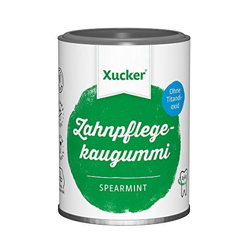 Xucker Zuckerfreie Zahnpflegekaugummis mit Xylit, Spearmint-Geschmack, ohne Titandioxid, vegan, 2er Pack (2x 100 g Dose)