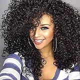 ColorfulPanda Afro Pelucas de pelo negra rizado y rizado para mujer negra, pelo natural negro, pelucas brasileña sintéticas onduladas con Flequillo de Para Mujeres Fiesta Halloween Disfraz