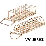 CZC AUTO Shaft Locking Pin 20 Pieces Trailer Coupler Pin, Dia 1/4 Inch Safety Coupler Pin For Farm Lawn Garden Wagons Trailer Hitches Couplers Towing, Square And Arch, Heavy Duty