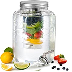 The KooK 2 Gallon Jar Drink Dispenser is constructed of thick, premium grade, durable glass that ensures stability and balance when in use indoors or outdoors.Crystal clear, the mason jar with spout allows for easy visibility of contents for showing ...
