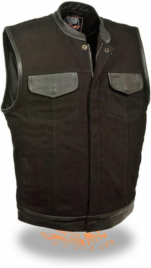 MEN MOTORCYCLE SON OF ANARCY BLK SNAP ZIP DENIM VEST W/LEATHER TRIM GUN POCKETS(Regular 4XL)