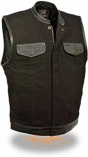 Men Motorcycle Son of ANARCY BLK SNAP Zip Denim Vest W/Leather Trim Gun Pockets