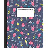 Graph Paper Notebook: Rock'N'Roll Quad Ruled Journal & Workbook for School, College & University | Grid Paper Book with 5 squares per inch, 100 pages | Awesome Rock Music Pattern