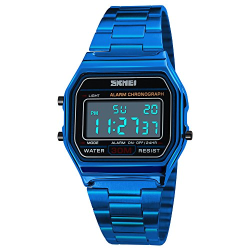 TONSHEN Lujo Fashion Deportivo Reloj Unisex Acero Inoxidable LED Electrónica Multifuncional Alarma Cronómetro Fecha 12H/24H Outdoor Militar Digital Relojes de Pulsera Casual (Azul)