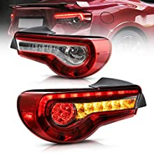VLAND Led Tail lights Compatible with Scion Fr-s 2013-2016 Toyota86/ Subuaru Brz 2013-2020 with Amber Sequential, OE Style Rear Lamp Assembly Including Passenger& Driver Sides, Clear