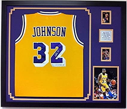 Magic Johnson Autographed Framed Jersey Los Angeles Lakers Signed ...