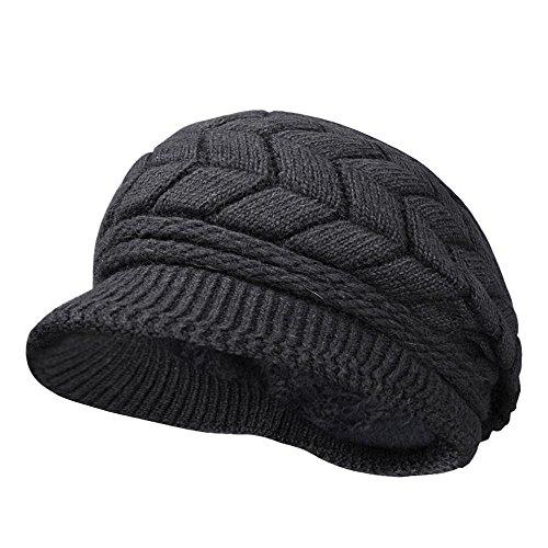 Kuyou Winter Strick Pelzmütze Barett Damen Schirmmütze Kappe Hut (Mode Schwarz)