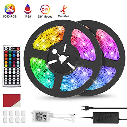 Tiras LED 10M (5M*2), IP67 Impermeable Luces LED Decoracion Habitacion, 5050 RGB 300 LEDs, 20 Colores, 6 Modos Dinámicos, Admite DIY, 12V DC Adaptador, Control Remoto de 44 Claves