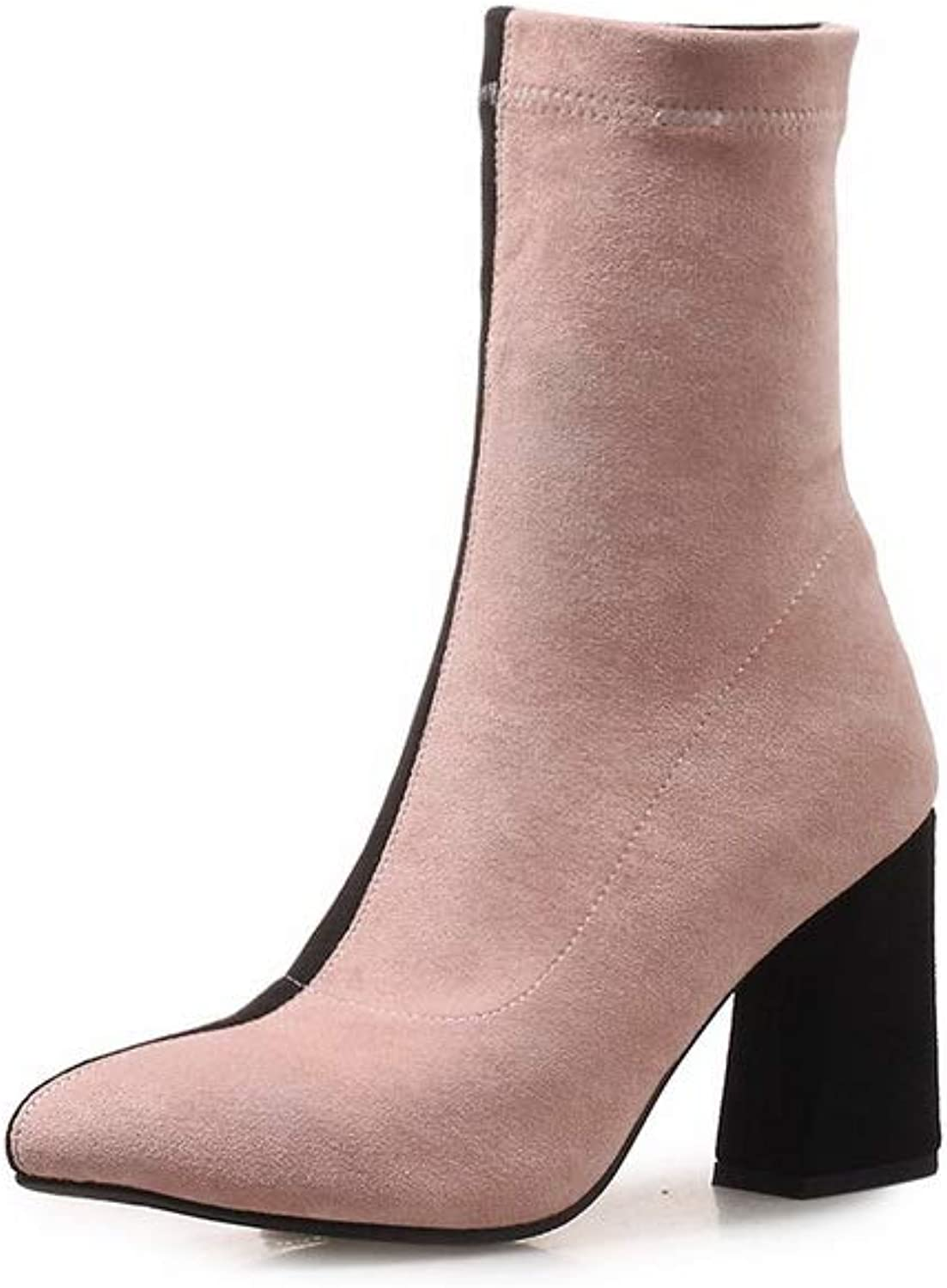 1TO9 Womens Square Heels Chunky Heels Assorted colors Imitated Suede Boots MNS03221