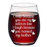 Sister in Law Gifts, Stemless Wine Glass for Sister in Law Sister Women Birthday Bride Bridal Shower...