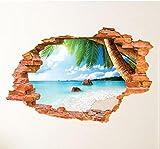 HALLOBO XXL Adesivo da Parete 3D Finestra Spiaggia Tramonto Alba Mare murale Soggiorno Camera da Letto Decorazione Immagine da Parete