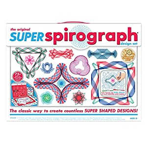 TWICE AS MANY GEARS as the original Spirograph! You'll have super fun with the Super Spirograph Kit that comes with unique arcs that snap together to form a variety of curves, to make even more spiro-tastic designs 50TH ANNIVERSARY! A gold-colored me...