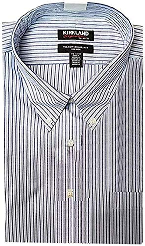 Photo of Kirkland Signature Men's Traditional Fit Long Sleeve Shirt, Blue Stripes –  Blue –  34/35