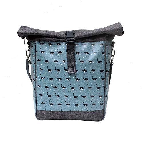 IKURI Fahrradtasche für Gepäckträger Satteltasche Einzeltasche Packtasche, abnehmbar, mit Tragegurt zum Umhängen, aus Plane, für Damen, Wasserdicht, Modell Avestruz