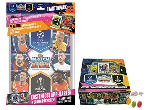 Serie 2 Topps Match Attax Champions L.eague 2020/2021 - Starterpack + 1 Display (30 Booster) zusätzlich 1 x Sticker-und-co Fruchtmix Bonbon