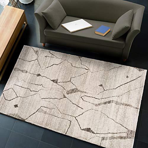 UNIVERSAL Alfombra Étnica Abstracta Shaggy Tonos Tierra, Moana Abstract Crema, 60 x 110 cm