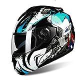 BUETR Off-road moto exterior bicicleta eléctrica casco montar bicicleta deportiva casco protector-Alien azul (película blanca) _XXL