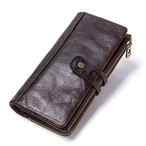 Contacts Real Leather Mens Secretary Checkbook Phone Holder Long...