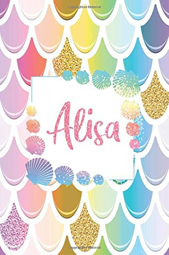 Alisa: Personalized Name Floral Blank Lined Journal For Mermaid Lover Girls And Women