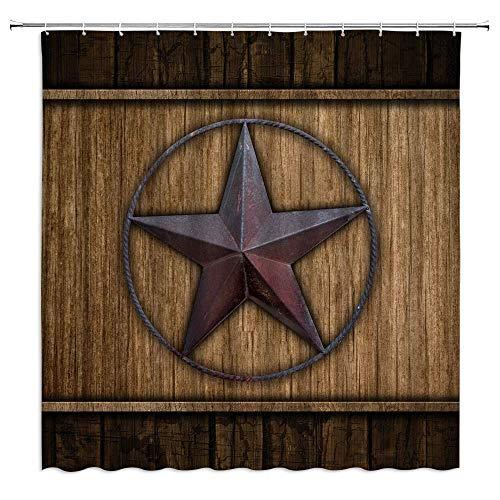 Cortina de Ducha rústica Western Texas Star en Tablero de Madera marrón Vintage Granero Casa de Campo Decoración de baño Conjunto de Tela de poliéster 274x178cm