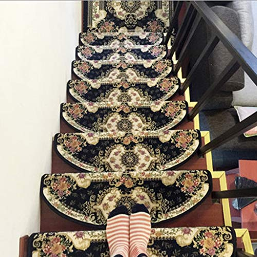 Alfombras de Escalera para Interiores Stair Treads Huella de peldaño Mats, autoadhesivo no Slip escalera cojines de alfombras, conveniente for el hogar Decoración Escalera (Tamaño: 65cm * 24cm), 15 pi