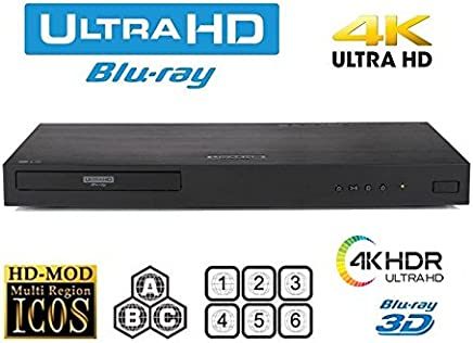 $379 Get New LG UBK90 UHD Streaming - 4K - 2D/3D - Region Free Blu Ray Disc DVD Player - PAL/NTSC - USB - 100-240V 50/60Hz for World-Wide Use & 6 Feet Multi System 4K HDMI Cable