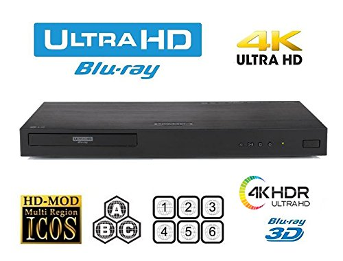 New LG UBK80 UHD - 4K - 2D/3D - Region Free Blu Ray Disc DVD Player - PAL/NTSC - USB - 100-240V 50/60Hz for World-Wide Use & 6 Feet Multi System 4K HD