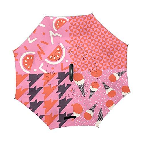 alaza Dessert IJs Watermeloen Rood Roze Omgekeerde Paraplu Dubbele Laag Winddicht Omgekeerde Vouwparaplu voor Auto Met C-Shape Handvat