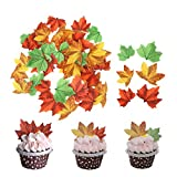 GEORLD Set of 48 Edible Fall Leaves Cake Decorations, Cupcake Topper 3 Colors...