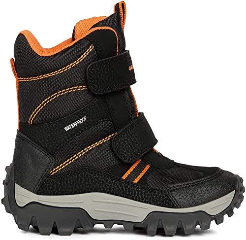 Geox Jungen Snowboots Himalaya Boy WPF, Kinder Stiefel,Winterstiefel,Schneestiefel,Schneeboots,Schneeschuhe,Thermostiefel,Black/ORANGE,36 EU / 3 UK