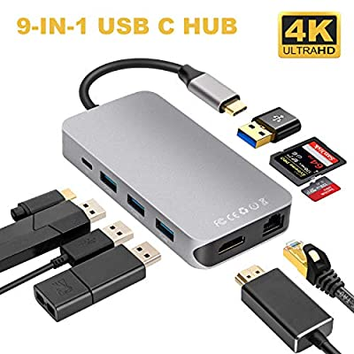 USB C Hub, 9-IN-1 Type C Hub with HDMI 4K, USB 3.0 * 4, PD Power Delivery, 1000M Ethernet RJ45 LAN, Aluminum Alloy USB C Hub Adapter Compatible for MacBook/Macbook Pro/Samsung Galaxy S8/ S9