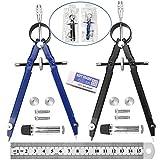 2 Pezzi Compasso Professionale, Compasso di Precisione, Diametro del 24 cm, con Accessori di Ricambio, Per Studenti, Artisti, Matematici, Architetti e Falegnami, Nero e Blu