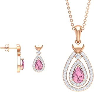 Rosec Jewels - 1.5 CT Pink Tourmaline Pendant and Earring Set, HI-SI 0.63 CT Diamond Necklace (AAA Quality)