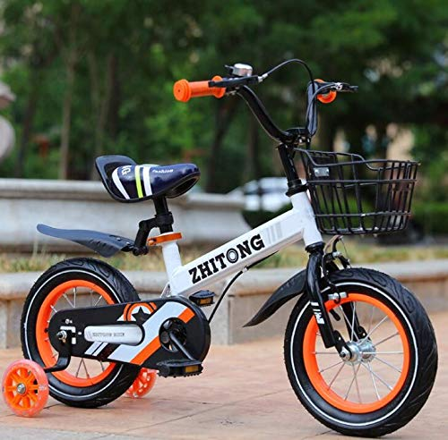 [Ship from US] Toddlers Kids Bike with Training Wheels Flash Assist Wheel,12/14/16 inch Cruiser Balance Bicycle with Hand Brake Basket Adjustable Seat,Best Gift for Girls&Boys Ages 2-5
