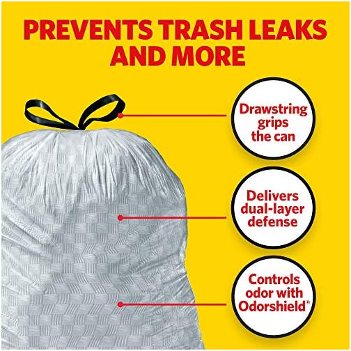 Glad ForceFlex Tall Kitchen Drawstring Trash Bags 13 Gallon Grey Trash Bag, Unscented 80 Count (Package May Vary) 8
