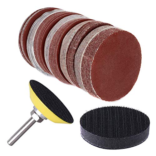 130pcs 2 Inch Sanding Discs Pad, Uspacific Backer Plate 1/4' Shank Sponge Cushions for Drill Grinder Rotary Tools 60-3000 Grit Sandpapers