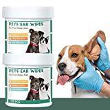 QUTOP 300 Count Dog Ear Cleaner Wipes for Dogs & Cats Pets Ear Infection Treatment Cleaning Wipes for Yeast Mites and Odor