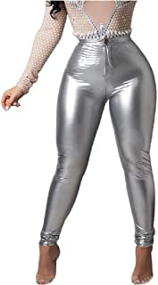 DressU Women's Sexy Skinny Pure Stretchy Punk Standard-fit PU Pants