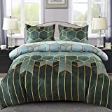 Mefinia Geometric Diamond Bedding <span class='highlight'>Duvet</span> Cover Set with Zipper Closure, 200cm X 200cm,Stripes <span class='highlight'>Comforter</span> Quilt Cover Set,Reversible Bedding Textile 3 Pieces Set (1 <span class='highlight'>Duvet</span> Cover   2 Pillow Shams)